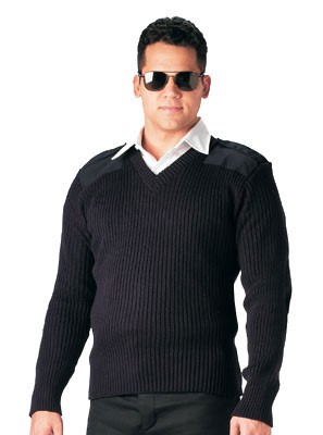 Navy Blue Acrylic V-neck Military Police Sweater