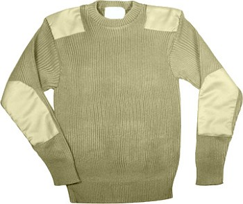 Khaki Acrylic Military Commando Sweater