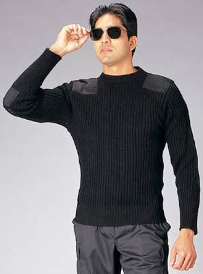Black Acrylic Crew Neck Military Commando Sweater